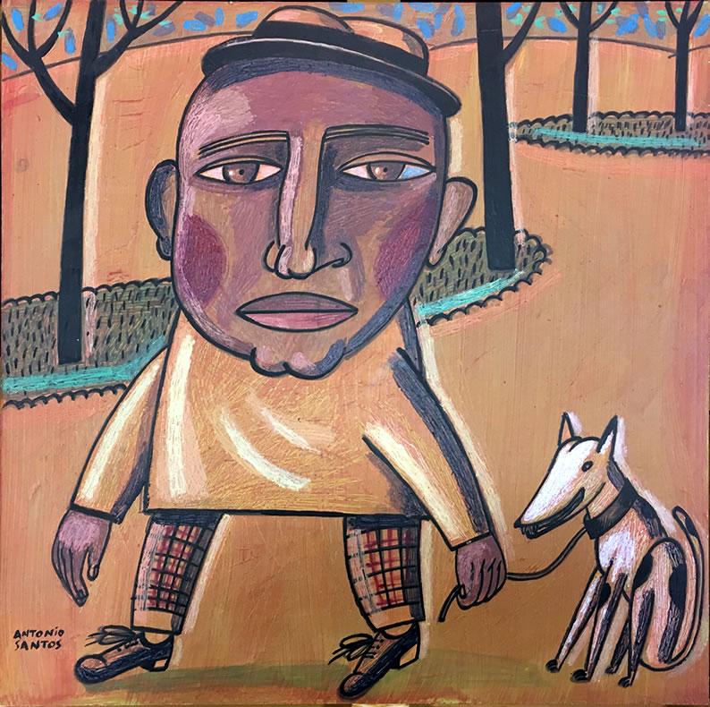 «Mulato con perro», obra original de Antonio Santos