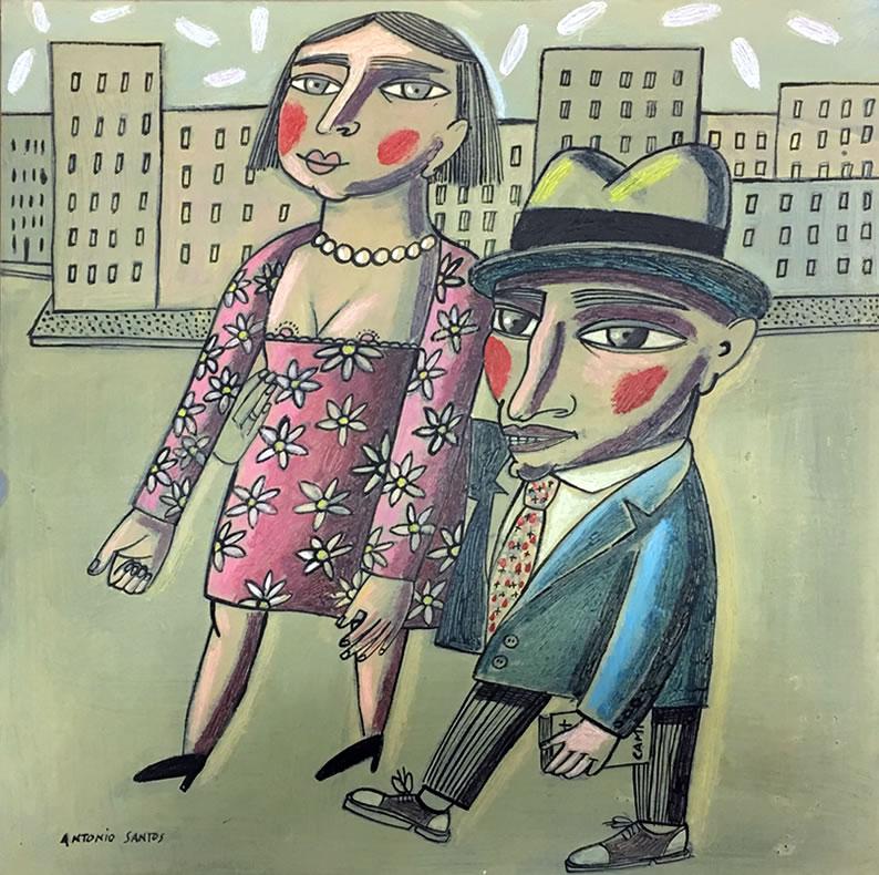 «Pareja feliz», obra original de Antonio Santos