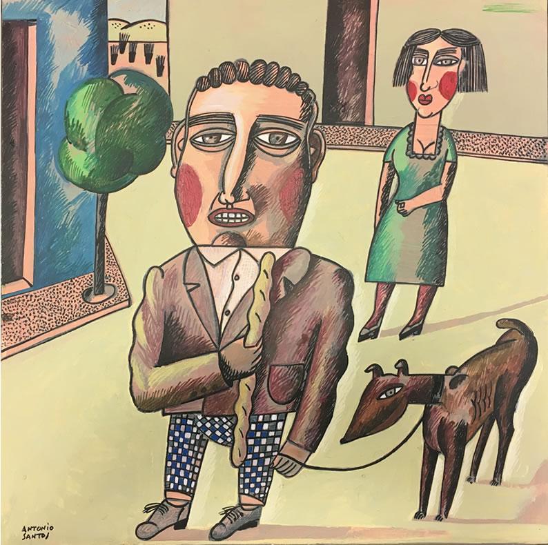 «Señor con perro», obra original de Antonio Santos